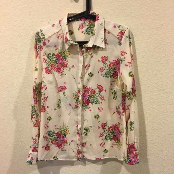 Tops - Floral cream button down blouse
